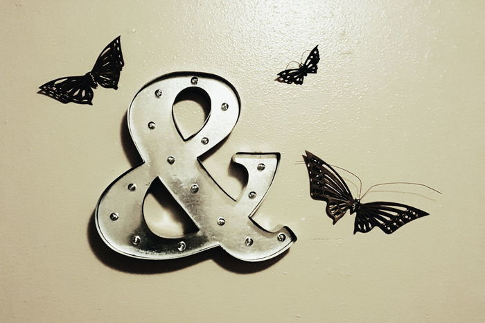 Marquee Marquee Letter Ampersand Metal Wall Art Butterflies Metallic
