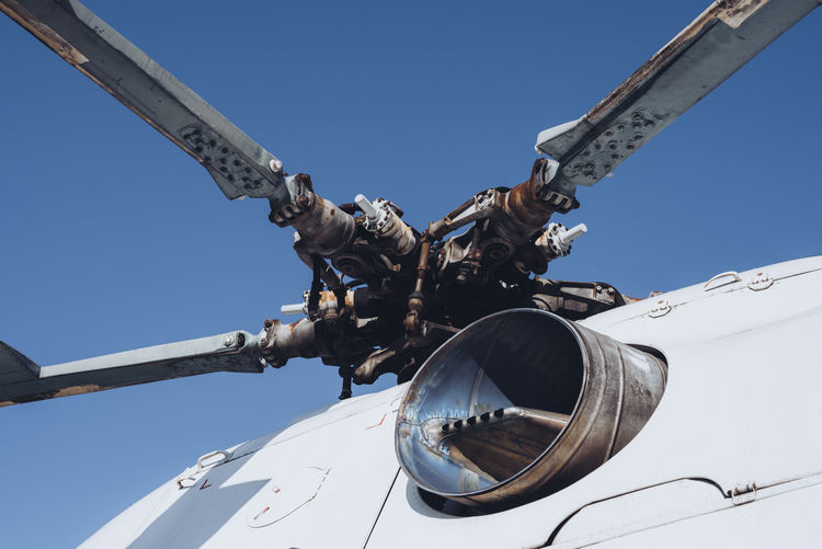 Close up of helicopter rotor