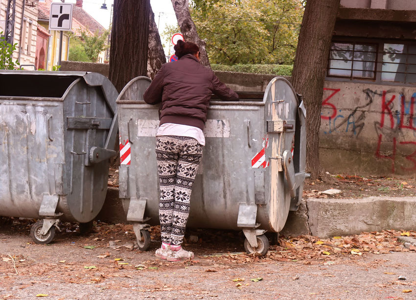 Poor woman digging out of garbage Container Finding Hungry Living Poor  Rubbish Trash Woman Digging Female Food Garbage Garbage Bin Garbage Can Homeless Lifestyles Outdoors Poverty Scrap Search Searching Survival Unhygienic Unrecognizable Person Waste