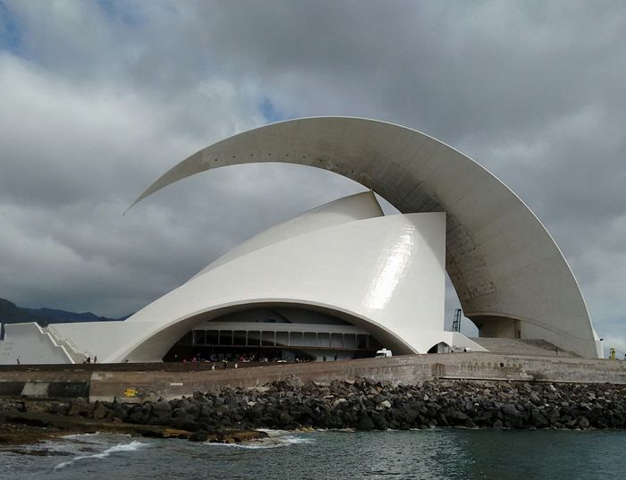 Architecture Modern Built Structure Architecture Photography Travel Photography Santa Cruz De Tenerife Opera House Cloud - Sky Silhouette And Sky Architecture Beautiful Place No Filter Travel Destinations Beach Business Finance And Industry Storm Cloud Outdoors Sea No People Day Water Sky City
