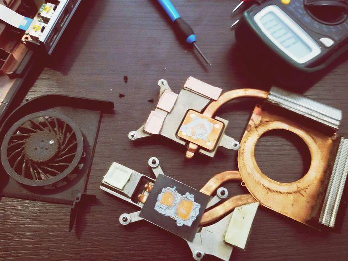 Human Meets Technology Office Screwdriver Technology Laptop Parts Work Laptop Fan Dirt Dirty Close Up Technology