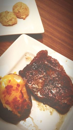 just a good piece of red meat. Out To Eat Out To Dinner Eating Eating Out Grilled Steaks Potato Cheese Dinner Steakhouse Steak Ready-to-eat Freshness Table Close-up First Eyeem Photo