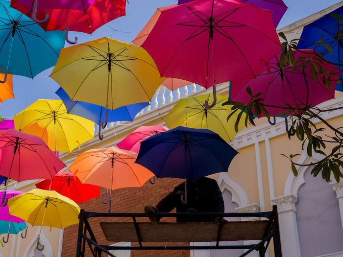 Colorful umbrellas in city