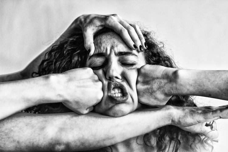 Females Woman Adult Aggression  Body Part Close-up Emotion Facial Expression Female Frustration Hand Headshot Human Body Part Human Face Human Hand Indoors  Irritation Mouth Mouth Open People Portrait Real People Shirtless Shouting Women International Women's Day 2019