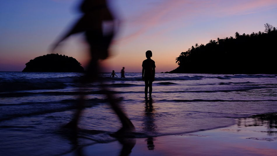 Silhouette Water People Beach Night Nature Sea Full Length Sky Tourist Summer Enjoy Holiday Time Day Shadow Passing Sand Season  Beauty In Nature Island Variation Standing Landscape Sunset