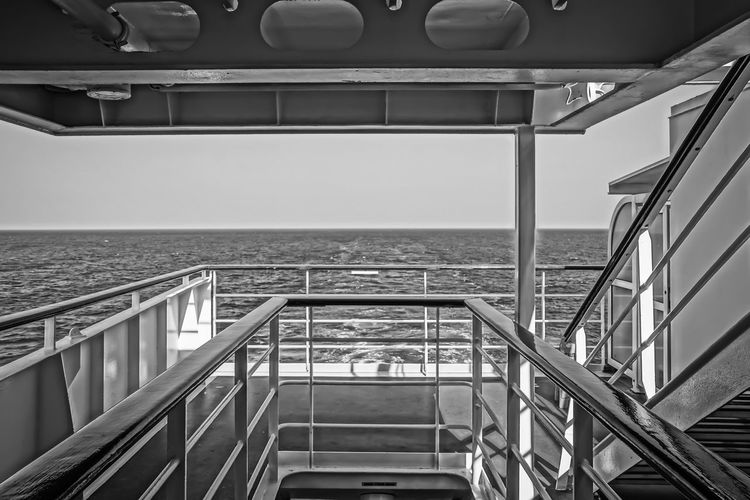 on deck Balcony Building Exterior Built Structure Cruise Cruise Ship Day Deck Horizon Over Water Kreuzfahrt Kreuzfahrtschiff Mediterranean Sea No People Ocean Railing Sea Sky Staircase Steps And Staircases Sunlight Water