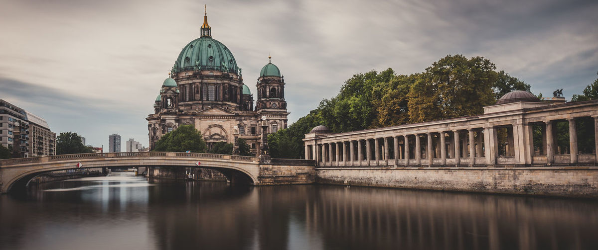 Bridge over river against berlin cathedral