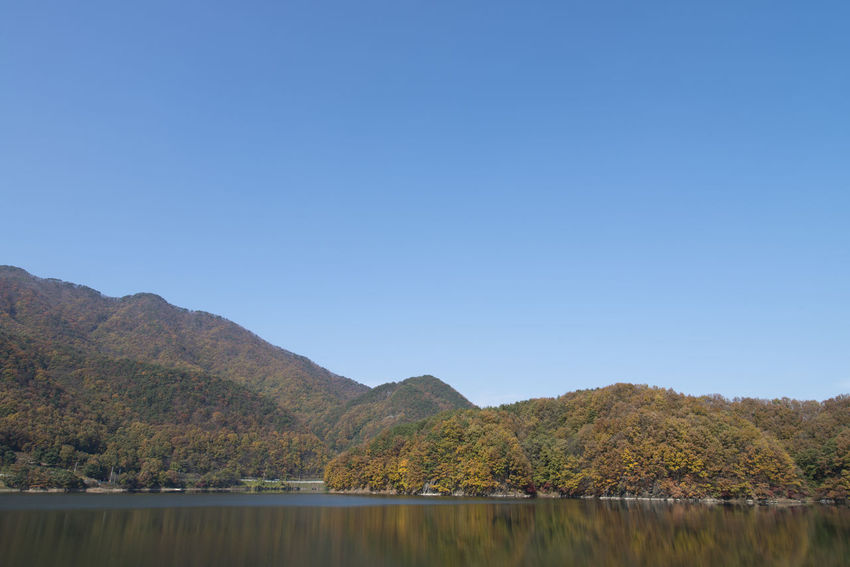autumn landscape of Busodamak, a beautiful lake located in Okcheon, Chungbuk, South Korea Autumn Autumn Colors Busodamak Fall Beauty Morning Light Okcheon Beauty In Nature Clear Sky Day Lake Lake In Autumn Lake In The Morning Landscape Mountain Mountain Range Nature No People Outdoors Scenics Sky Tranquil Scene Tranquility Tree Water Waterfront