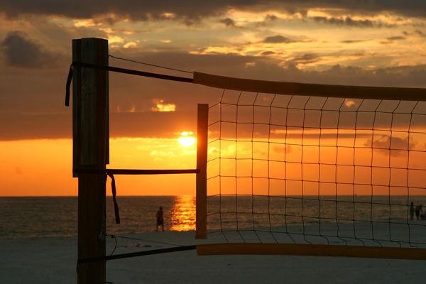Cloud - Sky Gulf Of Mexico Horizon Over Water Madeira Beach Florida Ocean Orange Color Outdoors Saint Petersburg Florida Scenics Sea Sky Sun Sunset Tampa Bay Volley Ball Net Water