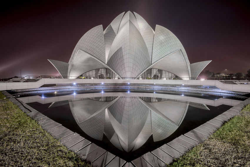 Reflection of Unity Delhi EyeEmNewHere India Long Exposure Shot Lotus Temple, New Delhi, India Nightphotography Reflection Architecture Arts Culture And Entertainment Building Exterior Built Structure Clixography Grass Illuminated Long Exposure Lotus Temple Low Light Photography Modern Night No People Outdoors Sandeep Verma Sky Travel Destinations