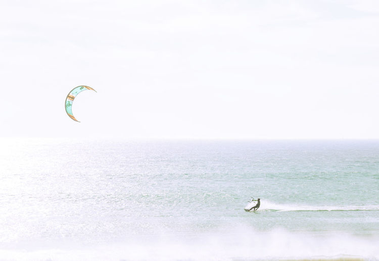 Surfing Adventure Extreme Sports Kiteboarding Kitty One Person Outdoors Sea Sky Sport Surfer Waves Wind