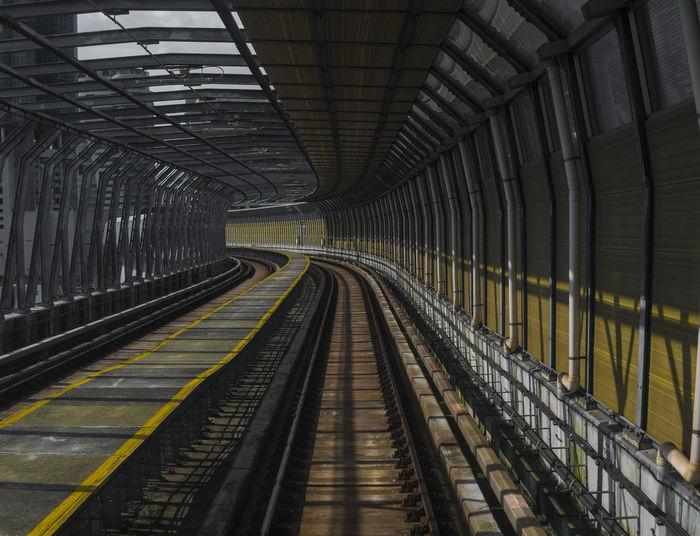 Empty railroad tracks on bridge