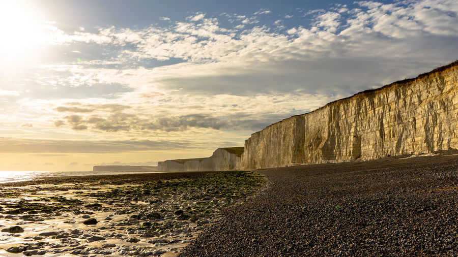 Sky Cloud - Sky Land Nature Tranquil Scene Scenics - Nature No People Tranquility Beach Beauty In Nature Sunlight Sea Horizon Water Day Outdoors Non-urban Scene Sand Sunset Seven Sisters Cliff England EyeEmNewHere