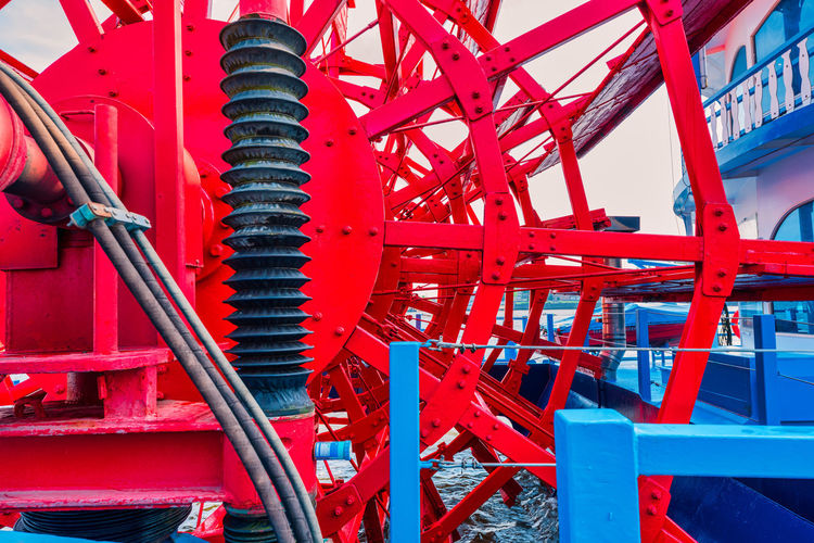 Close-up of red machinery