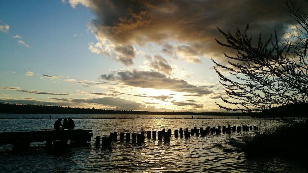 Sunset Lake Washington PNW Lakewashington Walking Around People Watching Clouds And Sky Sony Xperia Z3