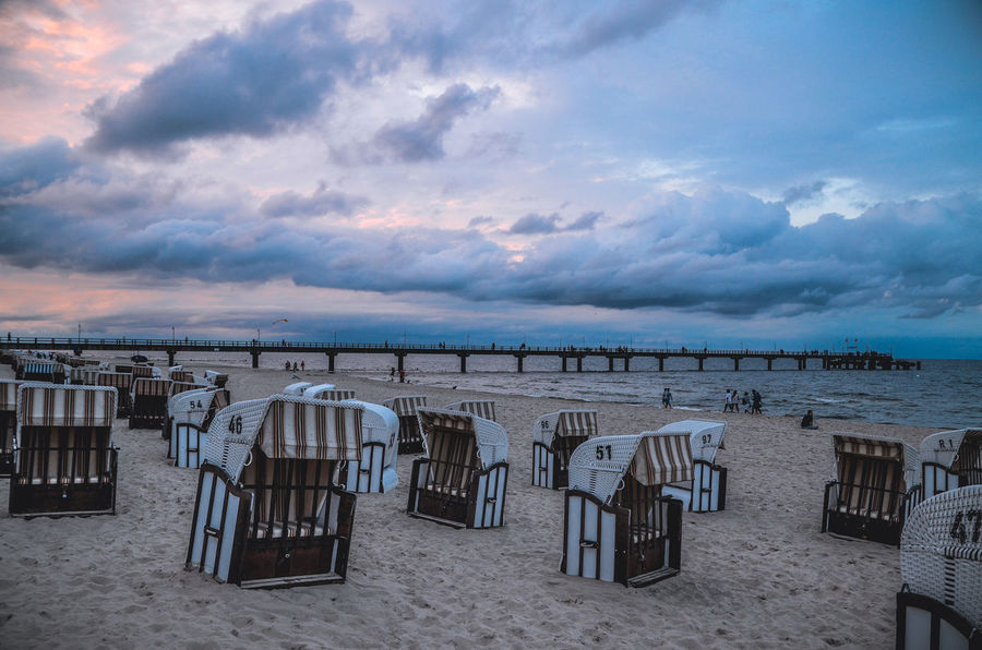 Absence Baltic Sea Bansin Beauty In Nature Blue Cloud Cloud - Sky Cloudy Day Empty Horizon Over Water Idyllic Nature No People Ostsee Outdoors Scenics Sea Shore Side By Side Sky Strandkorb Tranquil Scene Tranquility Weather