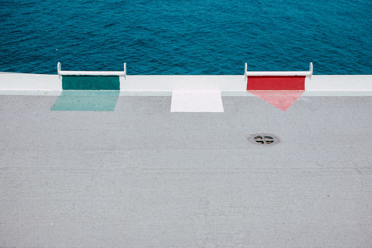 High angle view of built structure by sea
