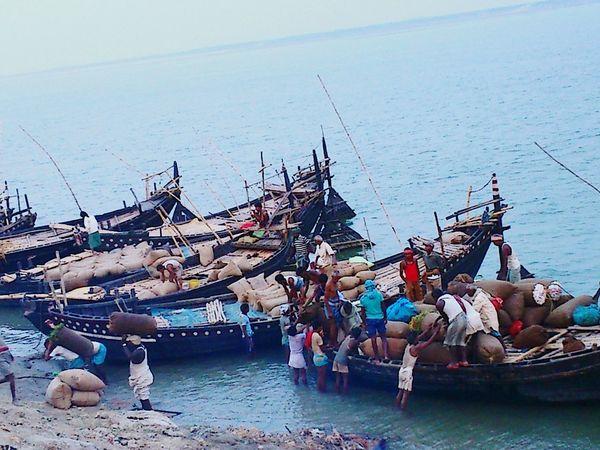 River View Ganga India Ship At Dock Merchants Transportation Local People Men At Work  West Bengal