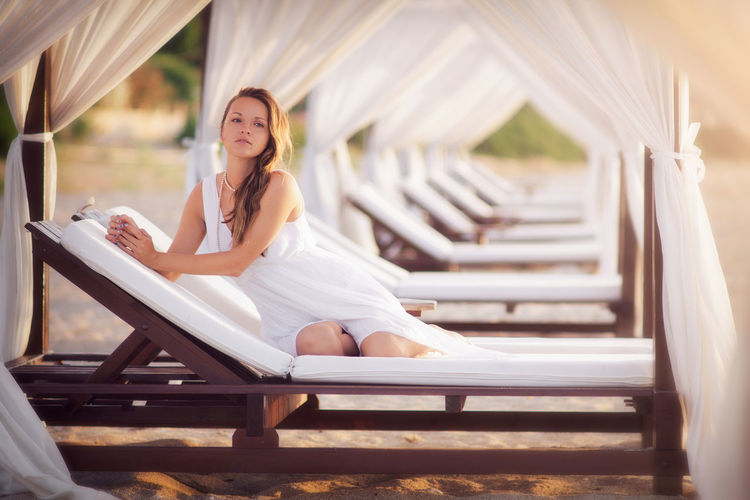 Canopy Coastline Fashion Vacations Beach Beauty Brunette Coast Dawn Gorgeous Leisure Activity Lens Flare Luxury Outdoors Paradise Portrait Pretty Relaxation Seductive Sexygirl Summer Sunrise White Color Women Young Adult This Is My Skin EyeEmNewHere