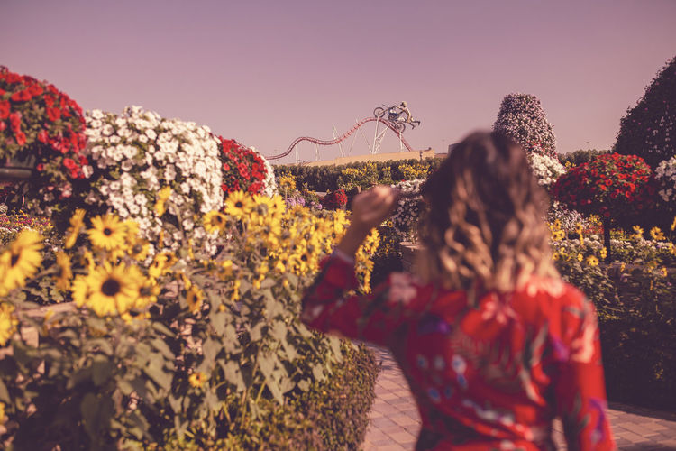 Rear view of women standing by flowering plants against sky