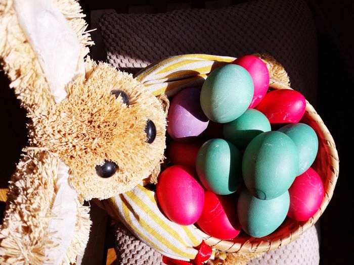 High angle view of multi colored easter eggs