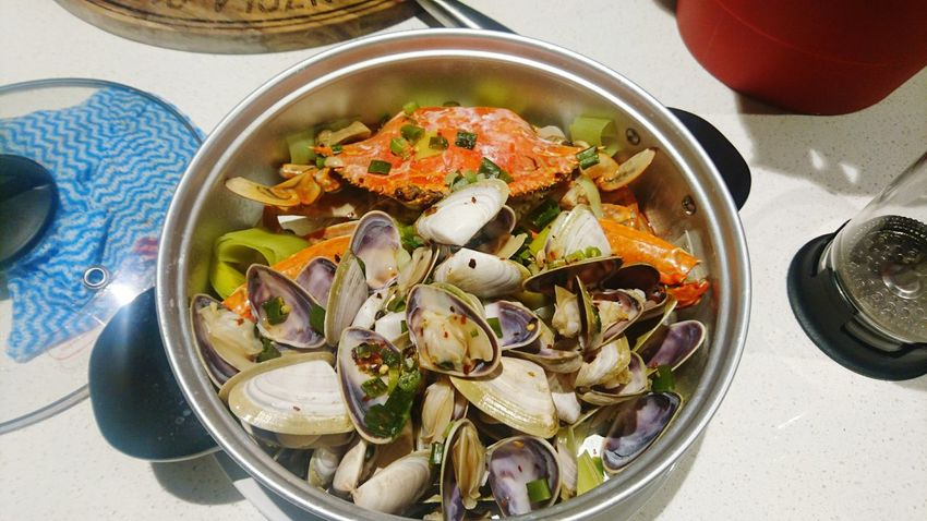 Healthy Eating Seafood High Angle View Freshness Food Ready-to-eat Plate Indoors  No People Close-up Day