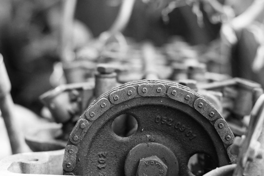 Chain Day Engine Focus On Foreground Gear Machinery Metal Old Engine