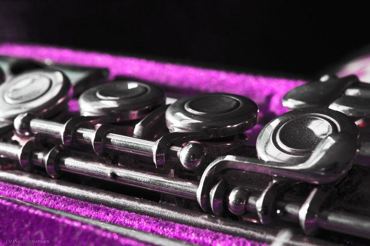 Close-up of pink machine