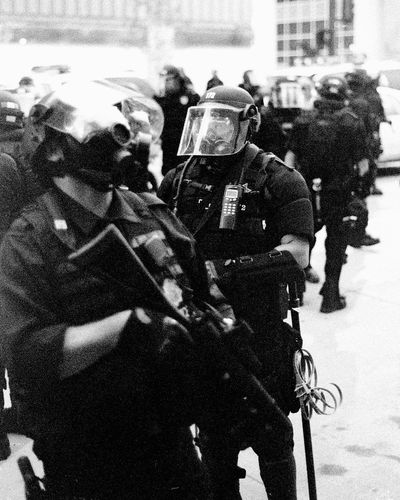 Protests at the 2008 Democratic National Convention (DNC) 2008 Democratic National Convention Black & White Film Protest Black And White Black And White Photography Blackandwhite Blackandwhite Photography Civil Disturbance Day Domestic Animals Film Photography Headwear Helmet Horse Horseback Riding Lifestyles Mammal Men Military Uniform Occupation Outdoors People Police Force Police Uniform Protesters Real People Snow Togetherness Tri-x 400 Pushed Uniform