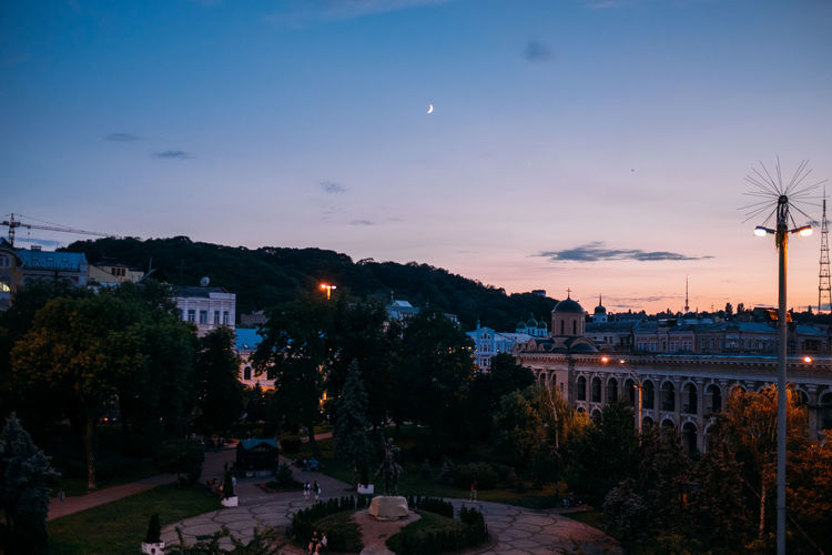 Kiev Kyiv Sky Architecture Building Exterior Built Structure Tree City Plant Nature Sunset Dusk Illuminated Building Cloud - Sky No People Street Outdoors Residential District Moon Night Fuel And Power Generation Podol Podil подол Контрактовая площадь Почтовая площадь