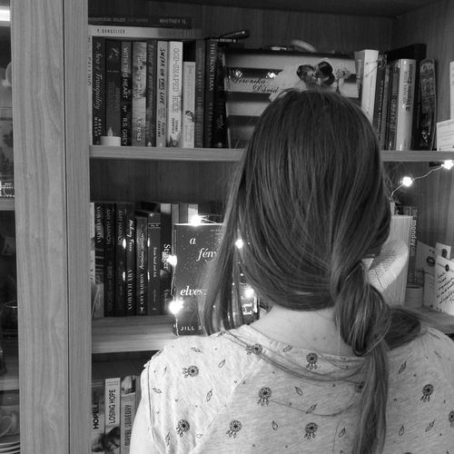 books Book Books Bookshelf Reading Readingnook Nook Blackandwhite Black And White Only Women Indoors  One Woman Only One Person Rear View Adults Only Long Hair Real People Women One Young Woman Only Young Adult