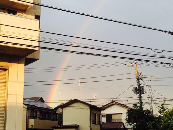 こら2本の虹が見えたんだよ♥️輪になっててめちゃ綺麗だった↗️↗️