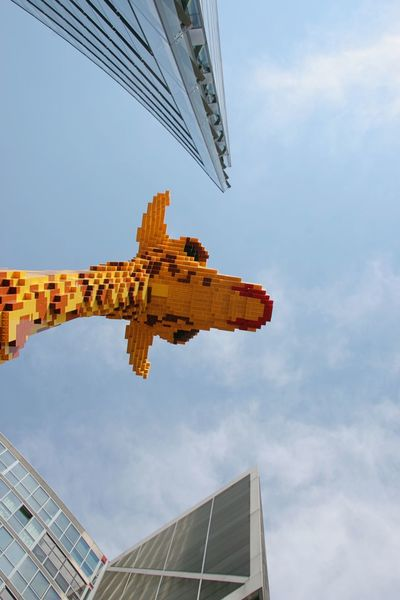 Architecture Building Exterior Built Structure City Cloud - Sky Day Giraffe Lego Giraffe Lego Sculpture No People Outdoors Sky Sony Center Berlin Travel Travel Destinations