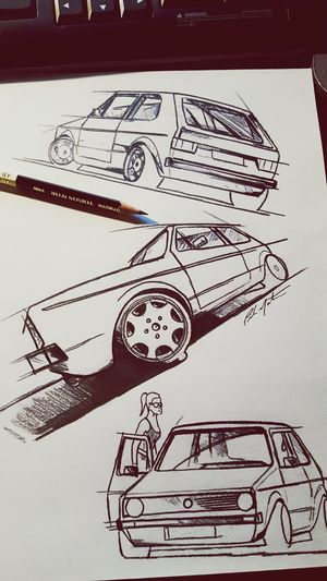 Mk1 Rabbit GTI Oldschool Drawing BlackAndWhiteDrawing Drawingsbymartins1320