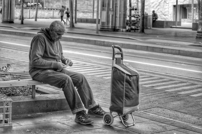 Social Issues One Person Bench Outdoors Full Length City Men Street Sitting Adult People One Man Only Street Life Lifestyles Seated Welcome To Black Monochrome People Watching Black And White Melbourne City People Photography The City Light Shopping Trolley Candidly Human TCPM The Street Photographer - 2017 EyeEm Awards