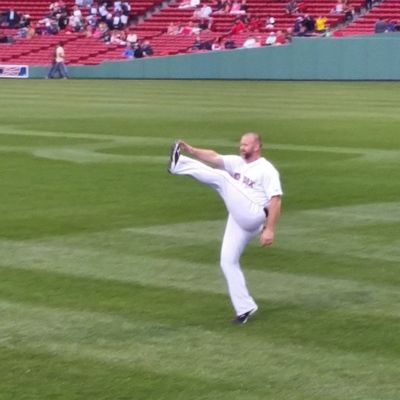 Ross practices high kicks. Myfenway
