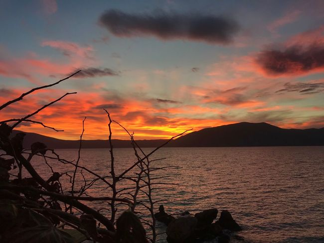 Radhime Day Mountain No People Outdoors Cloud - Sky Silhouette Water Tranquility Sea Tranquil Scene EyeEm Ready   Sky Orange Color Scenics Nature Beauty In Nature Sunset #Radhime #vlore #albania