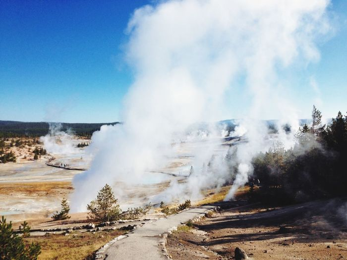 Remote landscape with steaming water