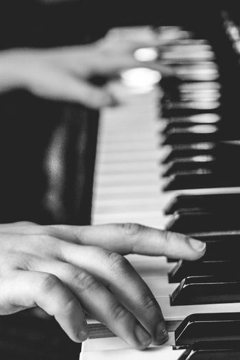 Musical Instrument Music Piano Piano Key Arts Culture And Entertainment Playing Pianist Musician Indoors  Human Body Part Human Hand One Person Real People Soloist Performance Musical Equipment