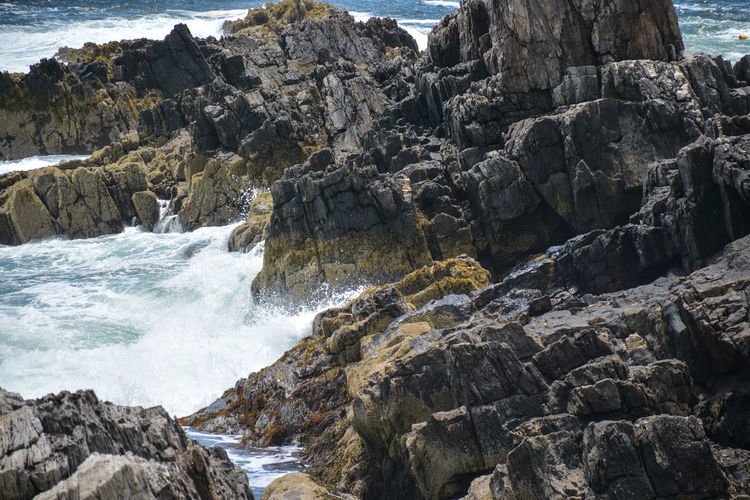 Harpswell Maine Maine Beach Beauty In Nature Breaking Day Flowing Water Giant's Stairs Hitting Land Motion Nature No People Outdoors Power Power In Nature Rock Rock - Object Rock Formation Rocky Coastline Scenics - Nature Sea Solid Splashing Water Wave