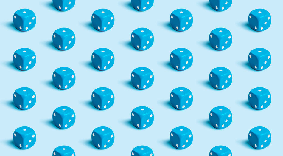 Dice Dices Dice Game Game Backgrounds Indoors  Full Frame Directly Above No People Blue Still Life Arrangement Pattern Side By Side Large Group Of Objects Studio Shot Design High Angle View In A Row Repetition Shape Choice Close-up White Background Blue Background Geometric Shape Square Shape Order Various