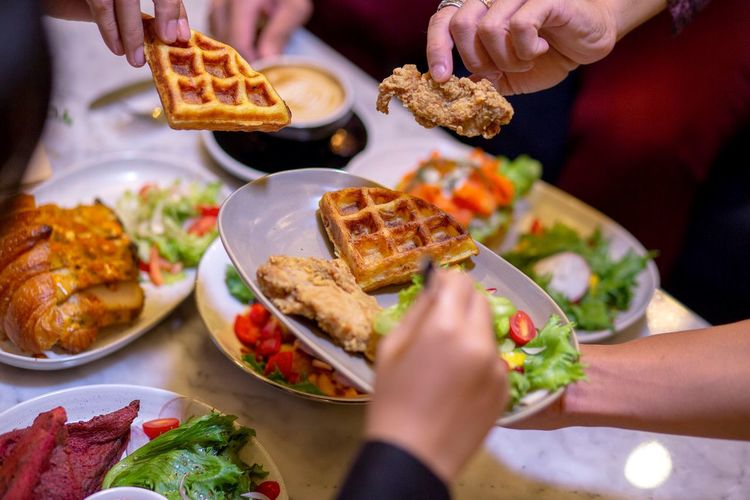Evening menu Human Hand Hand Food And Drink Human Body Part Food Ready-to-eat Indoors  Holding Lifestyles Freshness Real People Healthy Eating People Meat Women Focus On Foreground Body Part Close-up Plate Finger