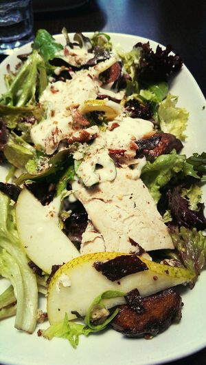 poached chicken and pear salad with potato chats, walnuts and sweet honey mustard Salad Eating Healthy