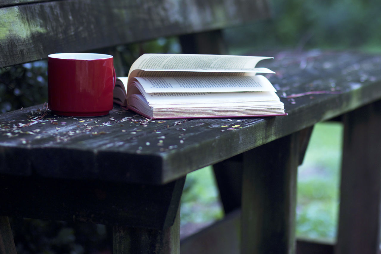 Book With Coffee Cup On Bench