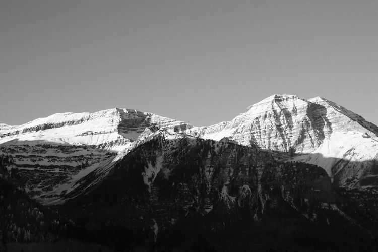 Mount Timpanogos in Utah Mountains Light And Shadow Landscape Black & White Winter Landscape Snow