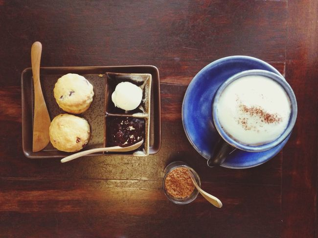 Afternoon Coffee Cappucino Afternoon Coffee Scone Top View Wooden Table