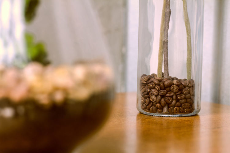 Close-up of coffee on table at home