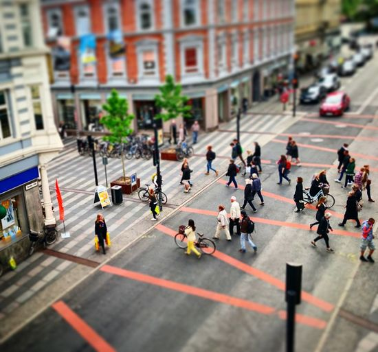 People Walking On Road In City