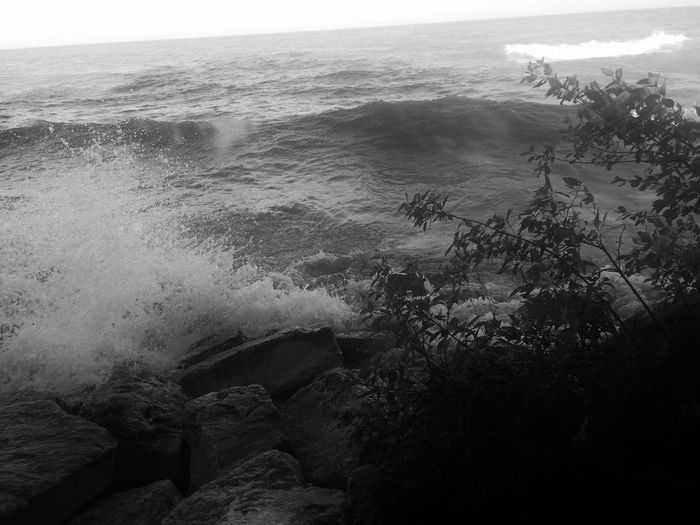 Simple no color Black And White Black And White Photography #lakemichigan Crashingwaves Water Sea Water Beauty In Nature Beach Nature Land Scenics - Nature
