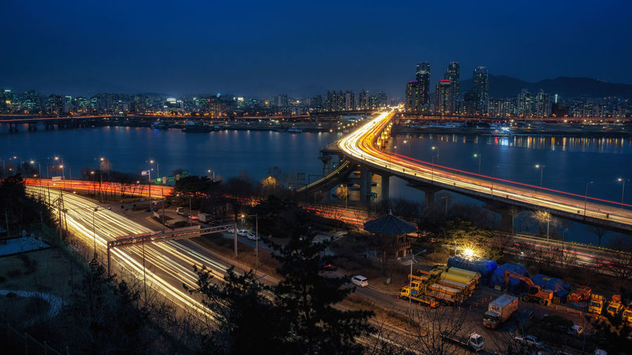 seoul night traffic view Architecture Bridge Bridge - Man Made Structure Built Structure City Connection Development Engineering Gangnam Illuminated Korea Long Exposure Night Night Photography Night View Residential District River Seoul Traffic Traffic Lights